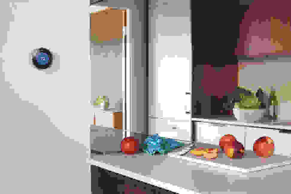 Nest thermostat in a kitchen