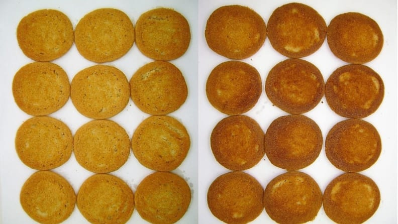 Side-by-side images of sugar cookie bases baked on two different trays.