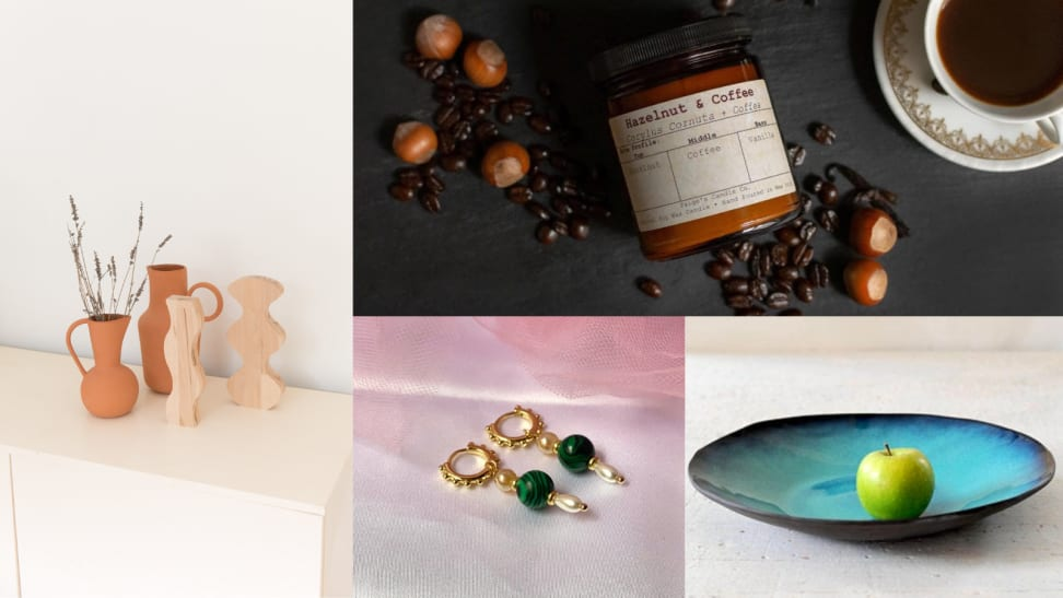 Several images of Etsy shop goods including wooden objects, candles, earrings, and a ceramic bowl.