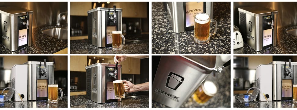 A collage of the Synek craft beer dispenser.
