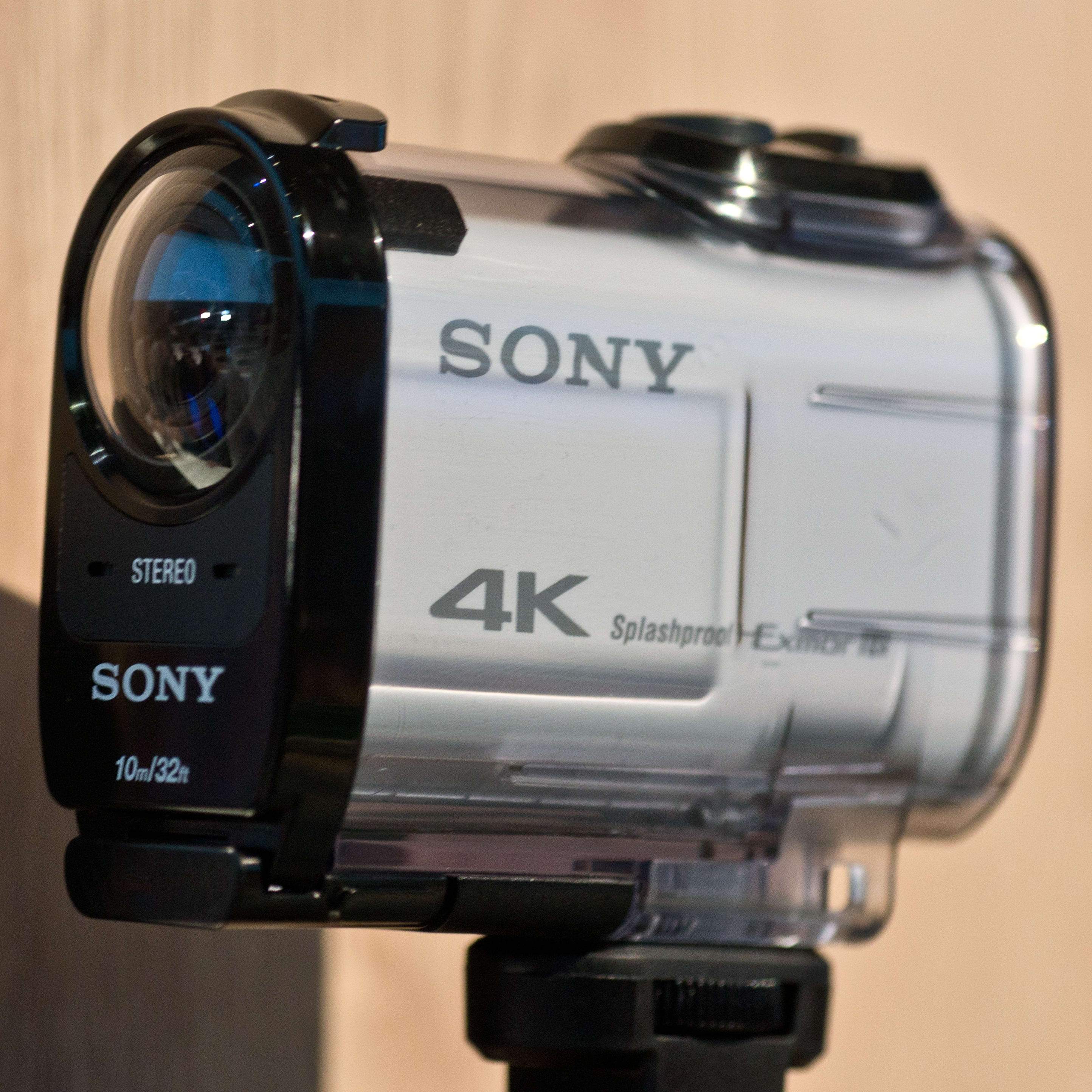 A photograph of the Sony Action Cam FDR-X1000V's additional waterproof casing.