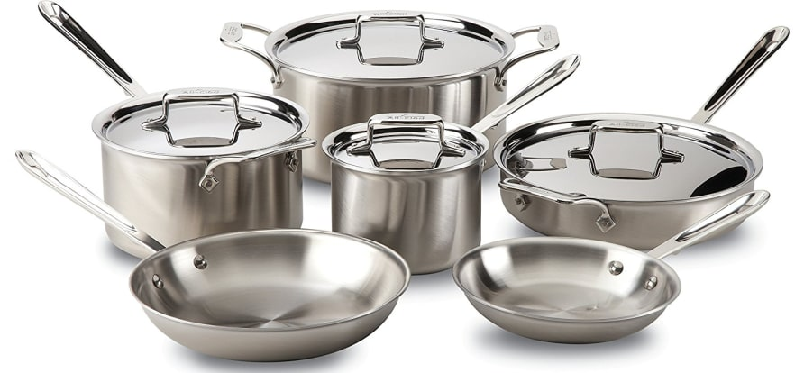Product Image - All-Clad BD005710-R D5 Stainless Steel 10-Piece Cookware Set