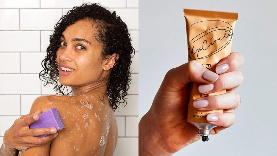 On the left: A person holding a purple bar soap up to their shoulder and washing their body. On the right: A hand squeezing a tube of face scrub.
