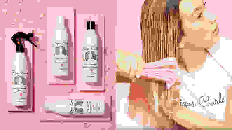 haircare products on a pink background next to a woman brushing her wet hair