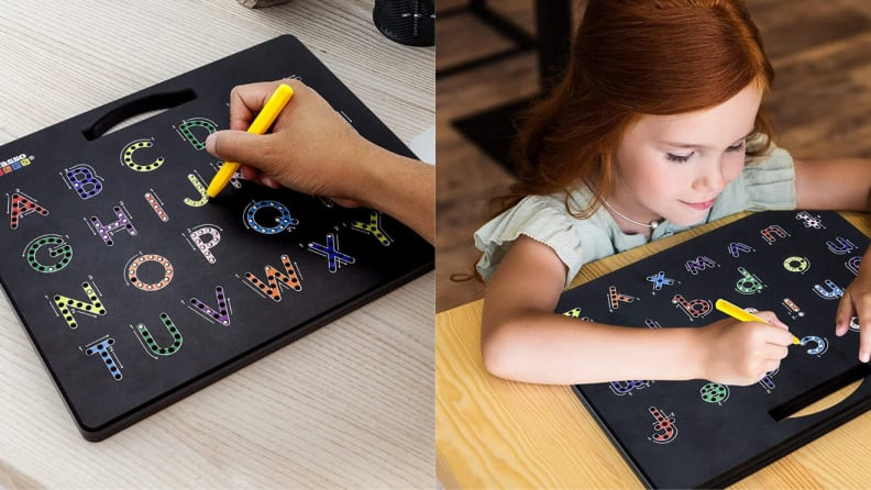 On left, hand using writing utensil on a alphabet tracing board. On right, young child using writing utensil on a alphabet tracing board