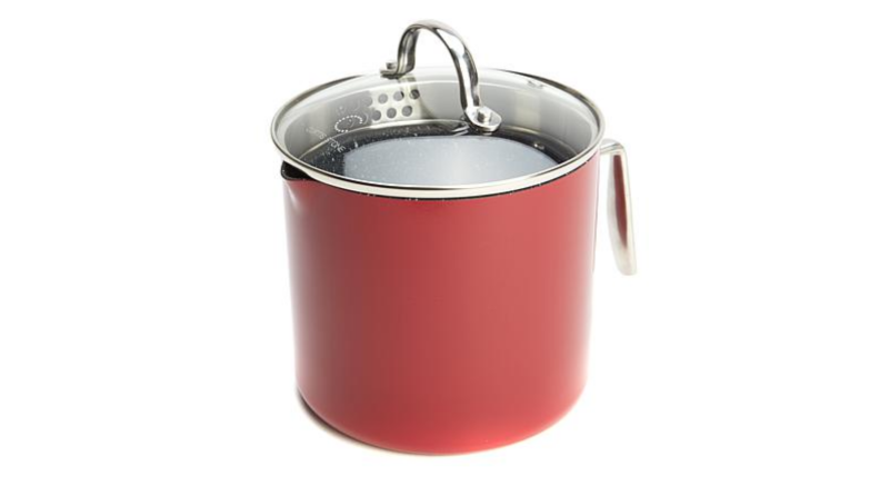 An image of a Curtis Stone saucepan in red, with the lid on.