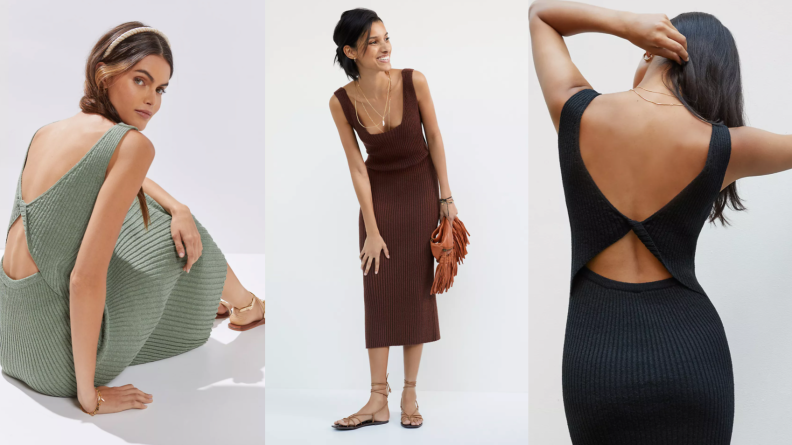 woman wearing midi knit dress in green, black, and chocolate