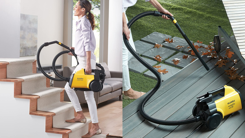 On the left: A woman carries a yellow canister vacuum up a st of stairs. On the right: A person blows leaves with a vacuum hose.
