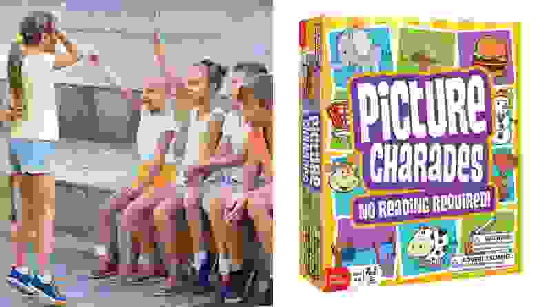 Kids playing charades and a photo of Picture Charades game