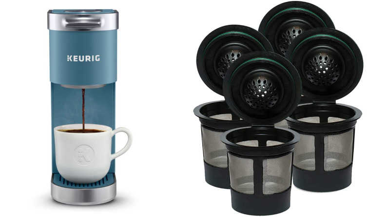 On left, product shot of blue Keurig coffee machine pouring coffee into white mug. On right, empty mesh black and gray refillable k-cups.