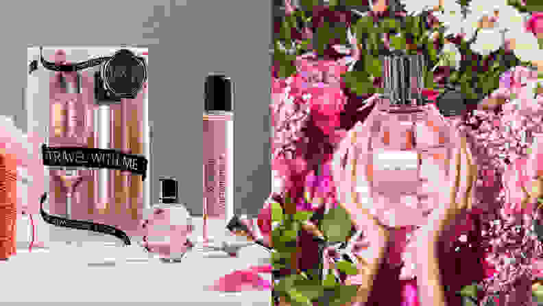 On the left: A kit of mini perfumes from Viktor & Rolf. On the right: The Viktor & Rolf pink perfume held by hands with flowers in the background.