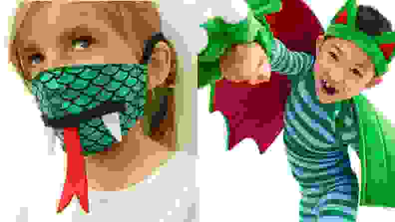 A dragon mask with a tongue and a child with a dragon costume.