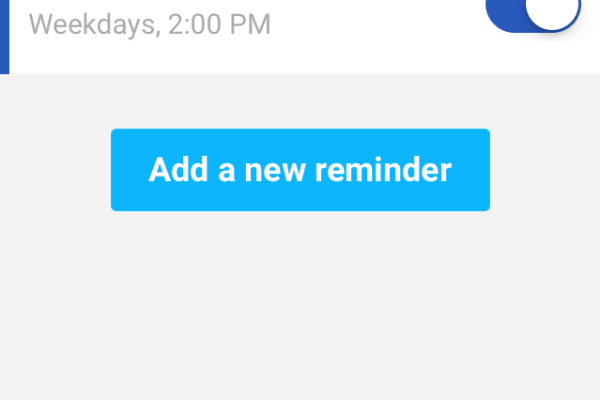 The Reminders screen