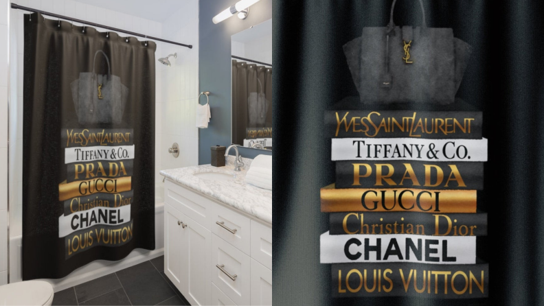 A black shower curtain featuring the names of several famous designers.