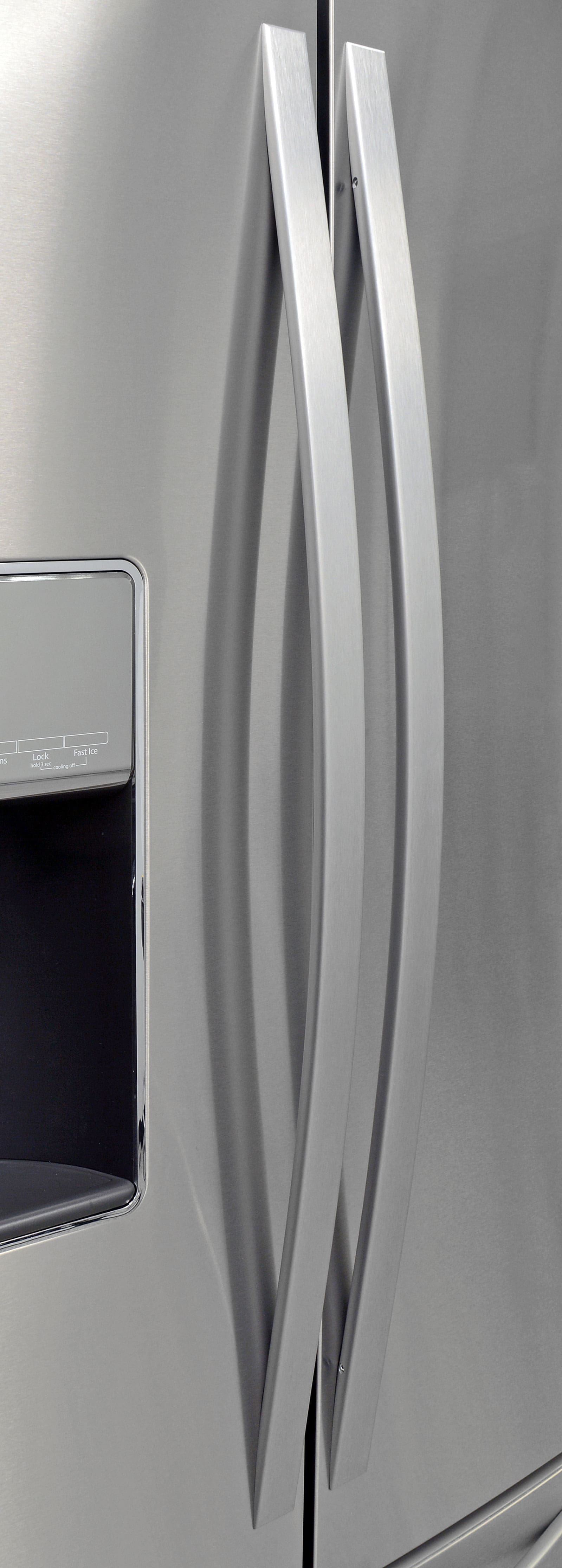 The Whirlpool WRF757SDEM's gently curving handles soften the fridge's overall look.