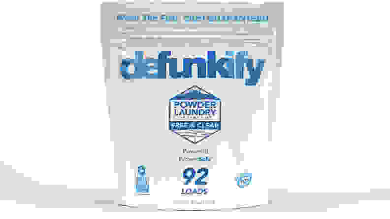A package of Defunkify laundry detergent on a white background.