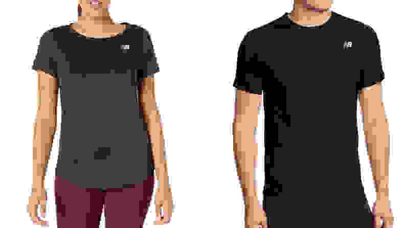 man and woman wearing new balance short sleeve shirts