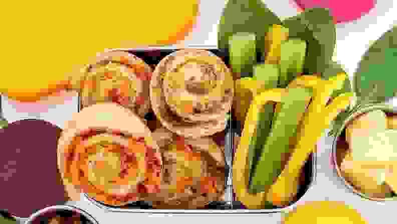 Pinwheel pastries in a kids' lunchbox.