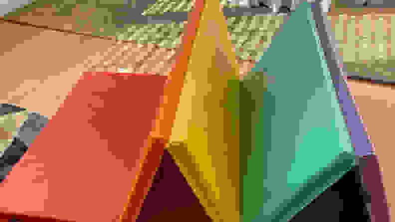 multicolored tumbling mat folded up