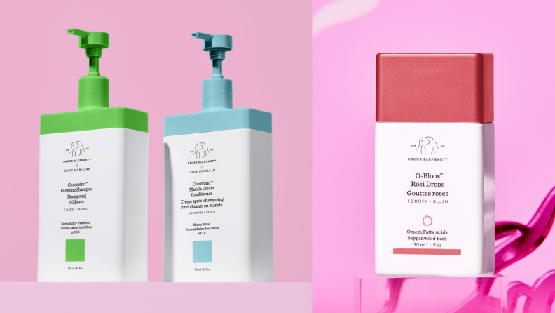 Two photographs of Drunk Elephant cosmetics containers against colorful backgrounds.