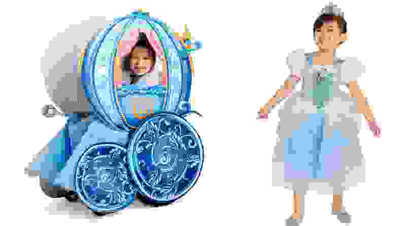 A child in a wheelchair that is made to look like Cinderella's carriage and a standing Cinderella.