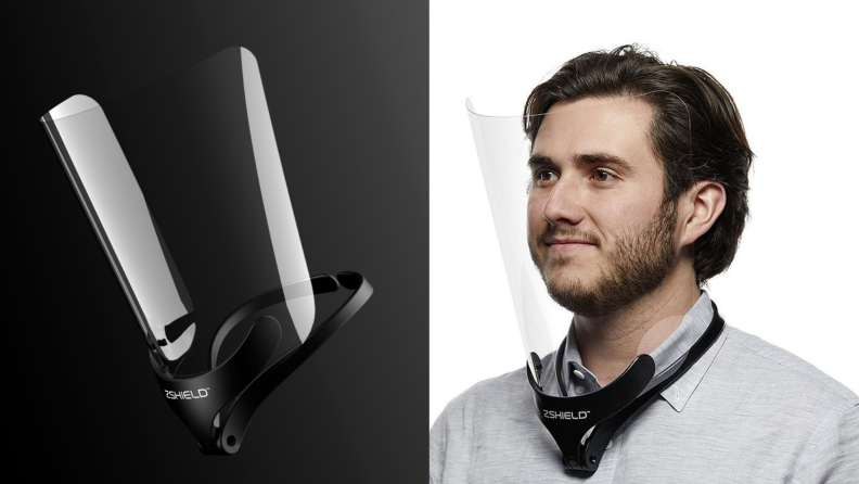 On left, product shot of neck mount face shield against a black background. On right, man wearing gray button-down shirt and black and clear neck mount face shield.