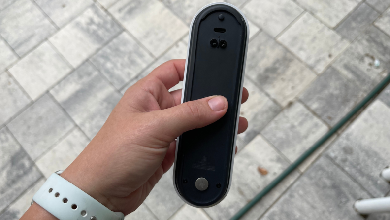 The back side view of the Nest Doorbell (battery)