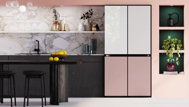 Sleek refrigerator in modern kitchen.