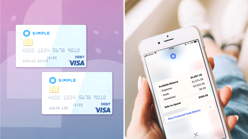 Simple bank debit cards and mobile app