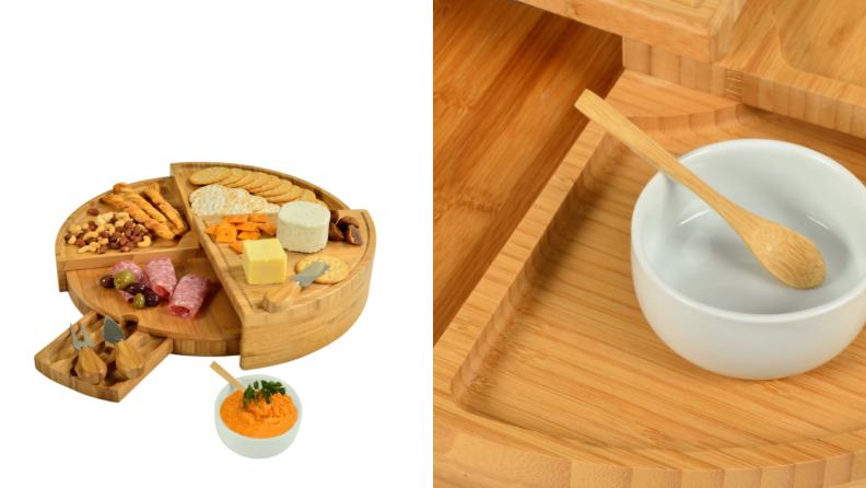 On left, wooden charcuterie board covered in assorted snacks. On right, close up product shot of wooden charcuterie board with tiny spoon.