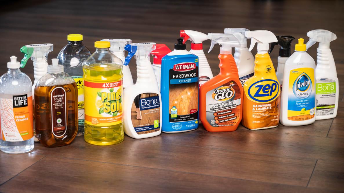 a dozen bottles of hardwood floor cleaners lined up together