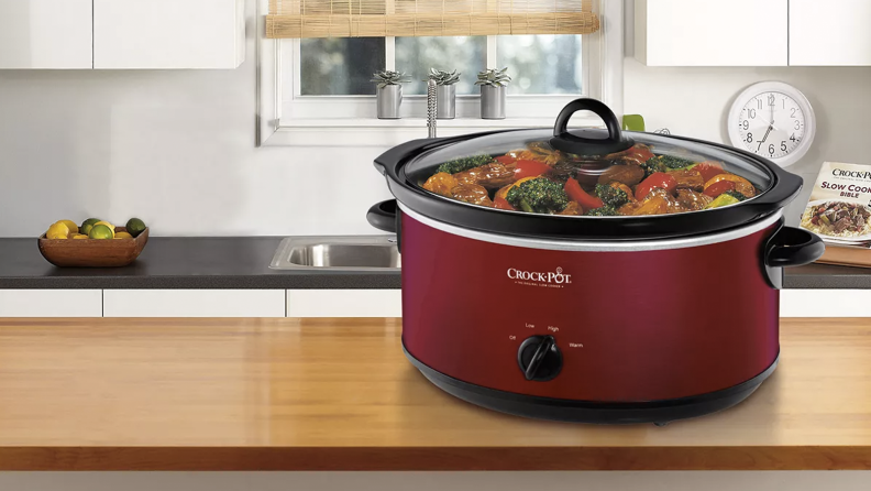 A crock-pot on a kitchen counter