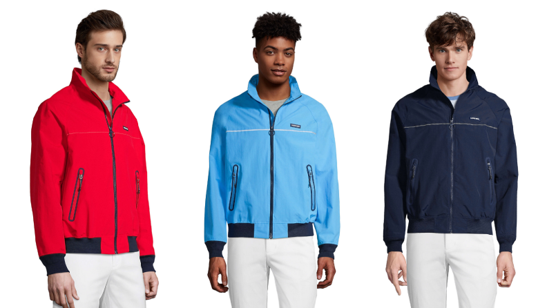 Man wearing red squall jacket from Land's End, man wearing blue squall jacket from Land's End, man wearing black squall jacket from Land's End.