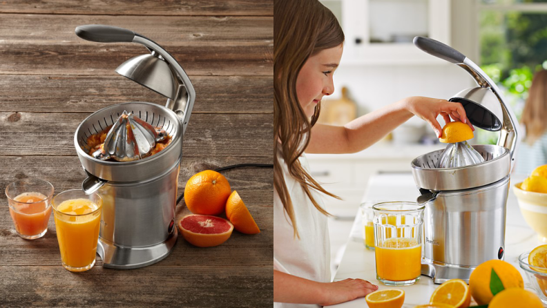 Left: A Breville citrus press and a glass of orange juice. Right: A young girl making lemonade with a citrus press.