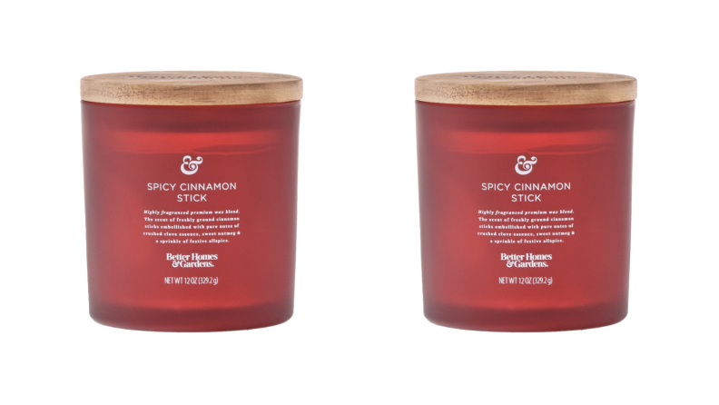 Two images of the same cinnamon scented candle sit side by side.