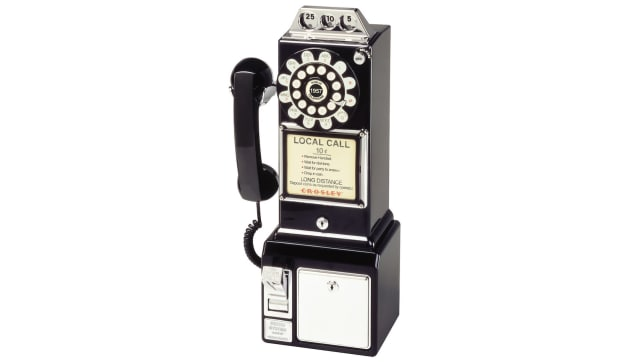 Payphone style wall-mounted phone