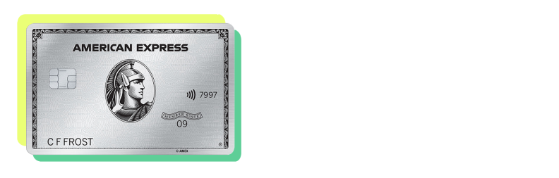 The Platinum Card from American Express with a yellow and green border