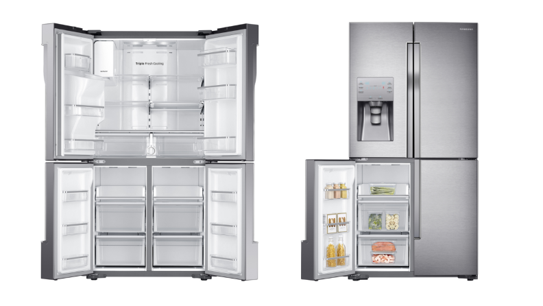Two images of a four-door fridge, the first with all doors open and no items, the second with the bottom left door open with food inside.