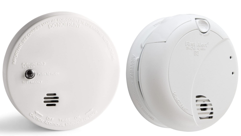 Two smoke detectors—a photoelectric smoke detector, and an ionization smoke detector