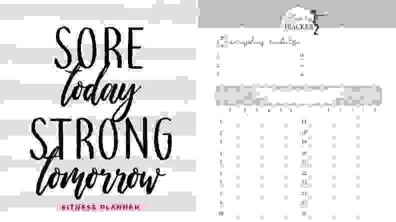 Sore Today Fitness Planner