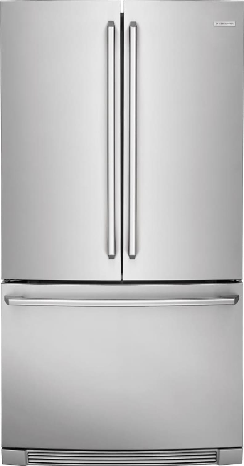 The models without a through-the-door dispenser have a conventional stainless exterior.