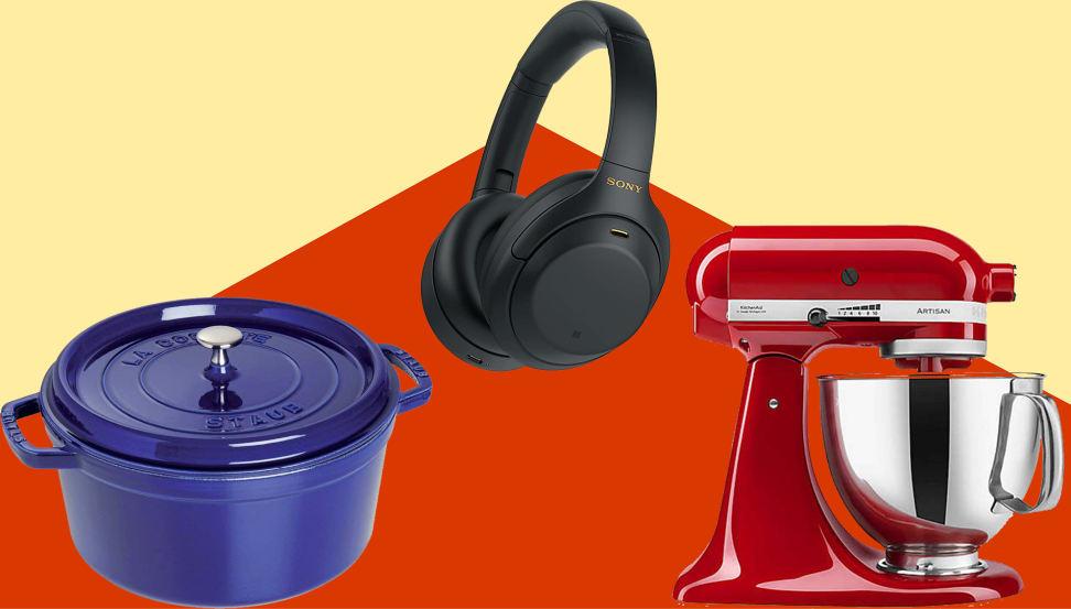 Cobalt Dutch oven, black headphones, red mixer on yellow/orange background