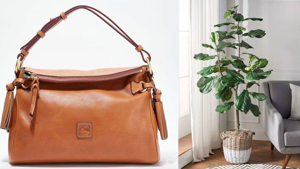 leather purse, faux plant