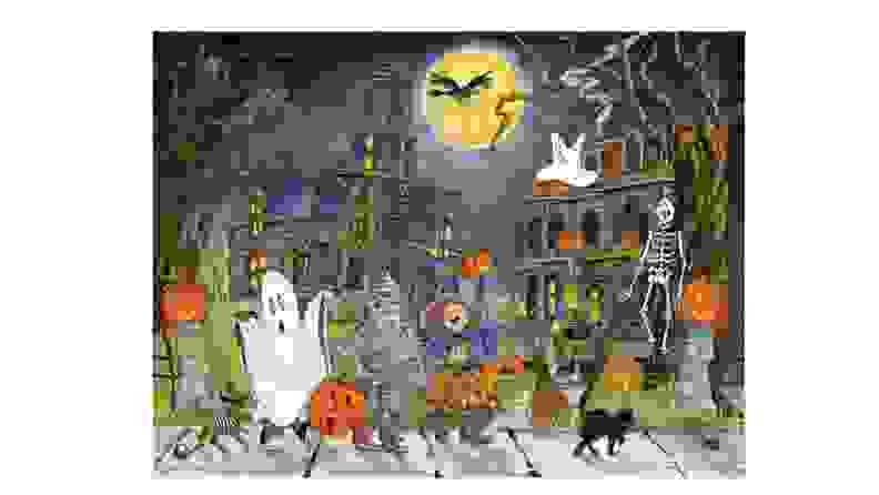 Halloween-themed calendar with children on front.