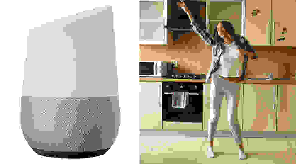 Google Home and woman dancing in kitchen