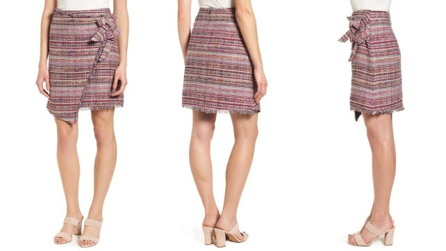 Halogen Asymmetrical Grommet Tie Tweed Skirt