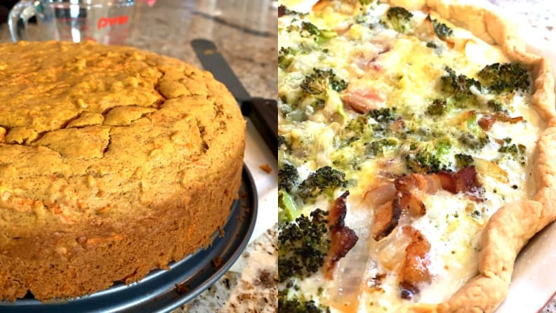 A carrot cake and a quiche