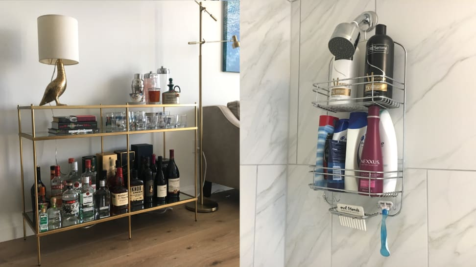 West Elm console table and Target shower caddy