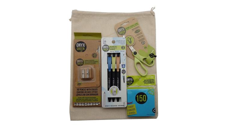 Onyx + Green school supplies