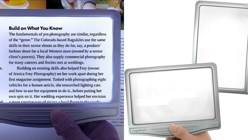 A page is illuminated and magnified by a handheld reading lamp.